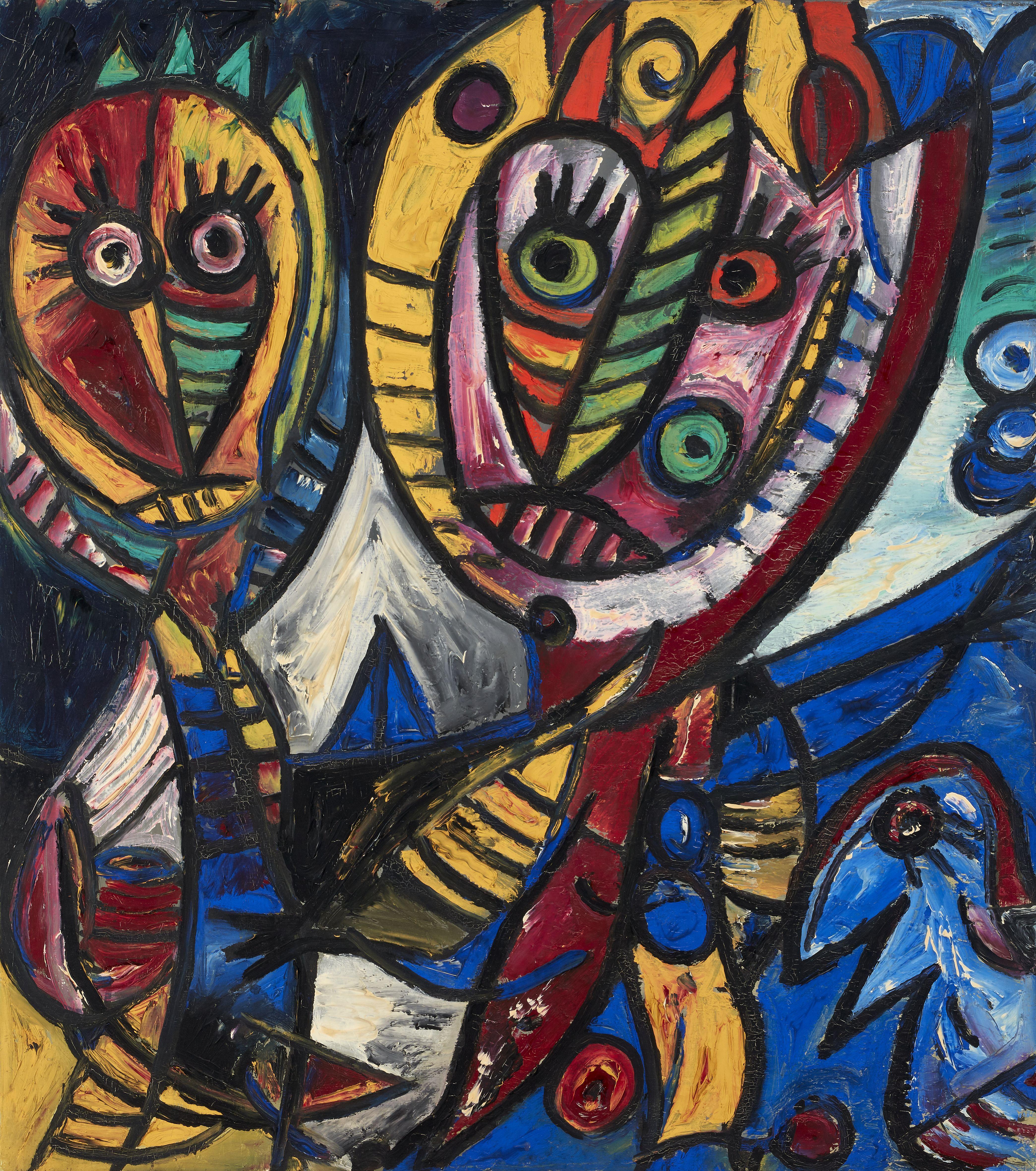 Indianere og blå fugl af Carl-Henning Pedersen