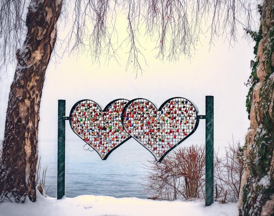 hjerter i sne