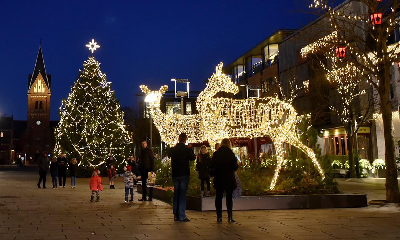Juletræ og dådyr med lys på Torvet i Herning