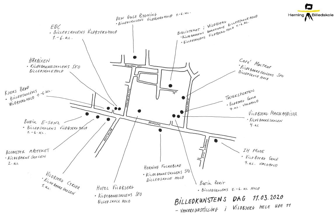 Kort over Vildbjerg med markering af, hvor udstillingen er.