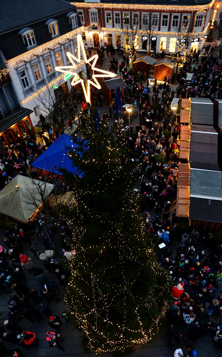 Juletræet på Torvet i Herning set oppefra